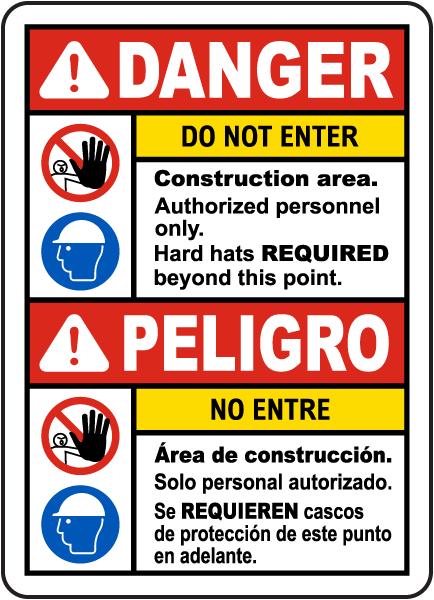 Bilingual Danger Construction Area Do Not Enter Sign
