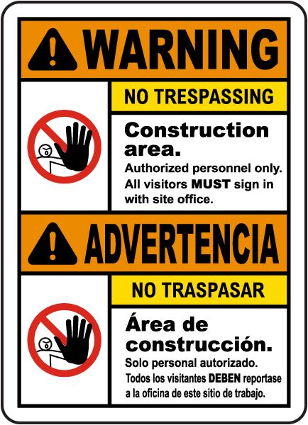 Bilingual Warning Construction Area No Trespassing Sign