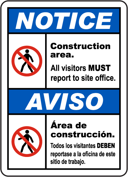 Bilingual Notice Construction Area Sign