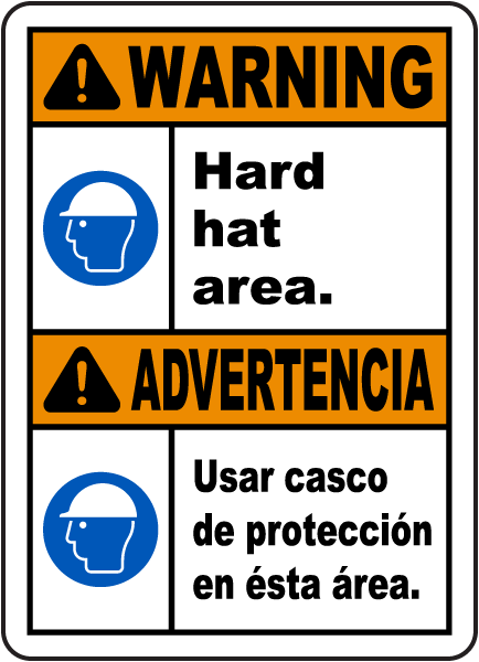 Bilingual Warning Hard Hat Area Sign