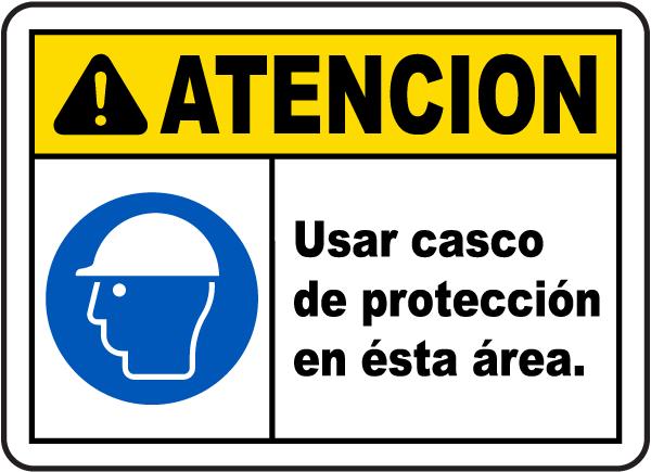 Spanish Caution Hard Hat Area Sign