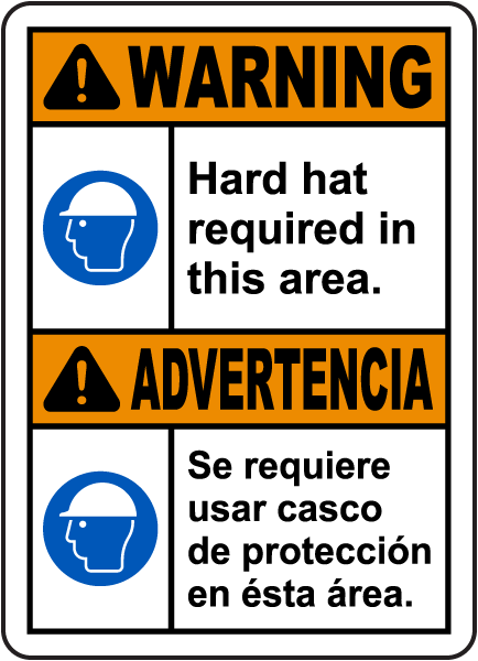 Bilingual Warning Hard Hat Required In This Area Sign