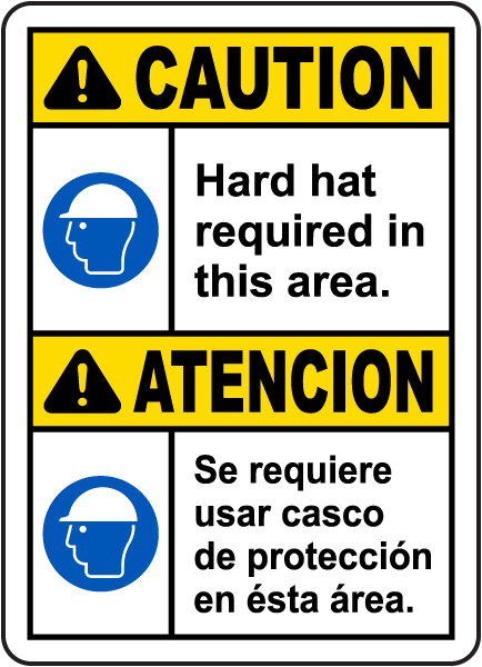 Bilingual Caution Hard Hat Required In This Area Sign
