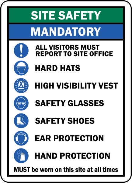 Site Safety Mandatory PPE Sign