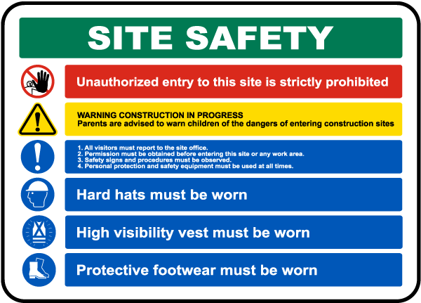 Site Safety Rules & PPE Required Sign