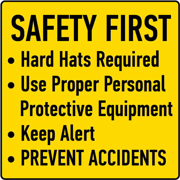 Hard Hats Required Use Proper PPE Sign