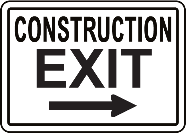 Construction Exit Sign with Right Arrow