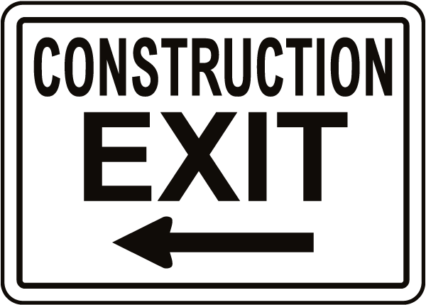 Construction Exit Sign with Left Arrow
