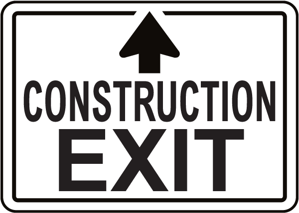 Construction Exit Sign with Up Arrow