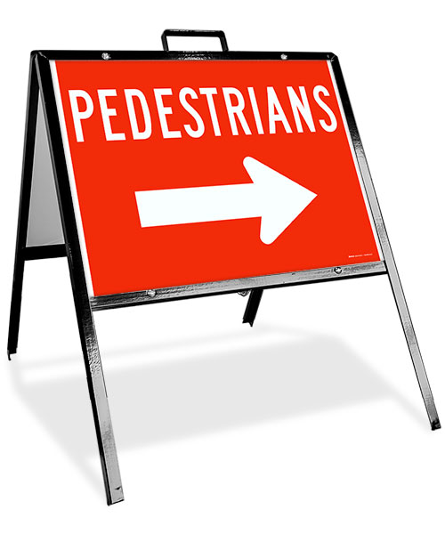 Pedestrians to the Right Sandwich Board Sign