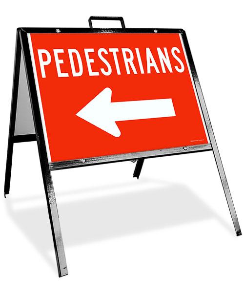 Pedestrians to the Left Sandwich Board Sign