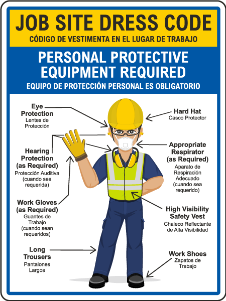 Bilingual Job Site Dress Code Min. PPE Sign