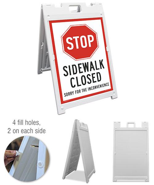 Stop Sidewalk Closed Sandwich Board Sign