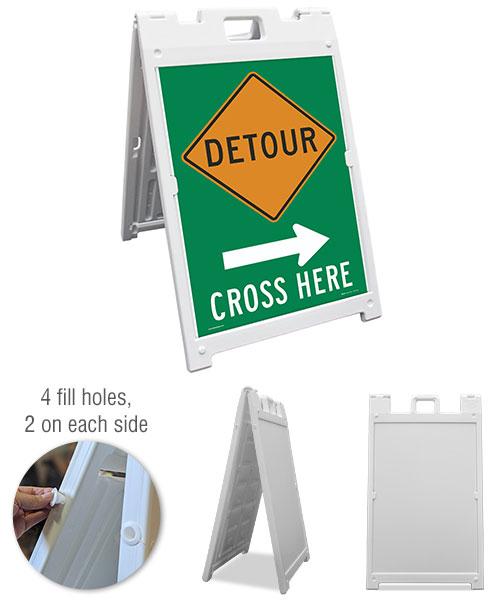 Detour (Right Arrow) Cross Here Sandwich Board Sign