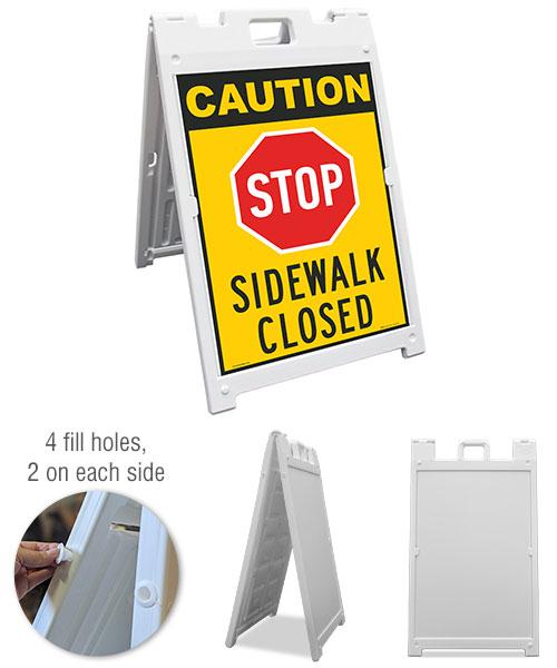 Caution Stop Sidewalk Closed Sandwich Board Sign