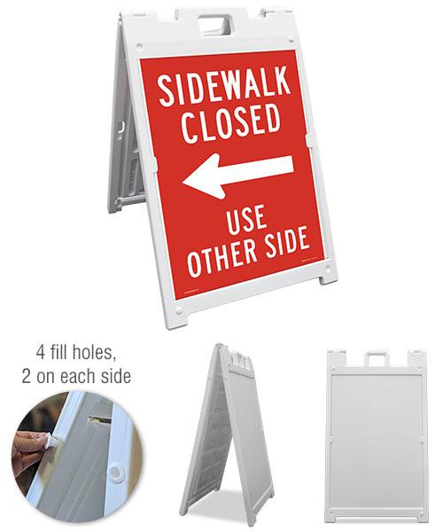Sidewalk Closed Use Other Side (Left Arrow) Sandwich Board Sign