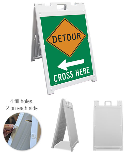 Detour (Left Arrow) Cross Here Sandwich Board Sign