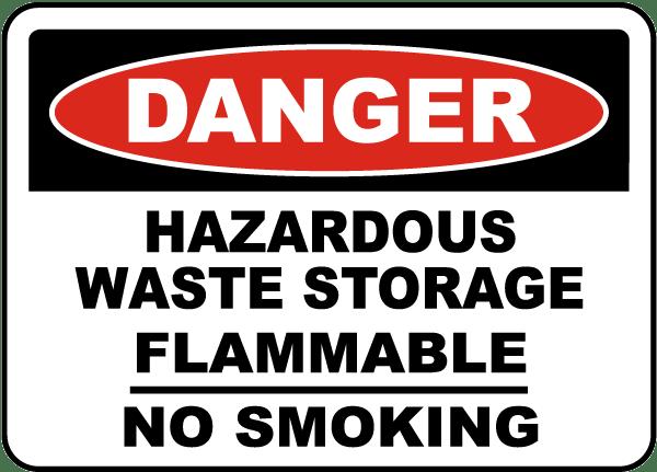 Danger Hazardous Waste Storage Sign