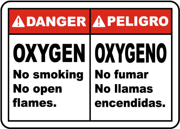 Bilingual Oxygen No Smoking Sign