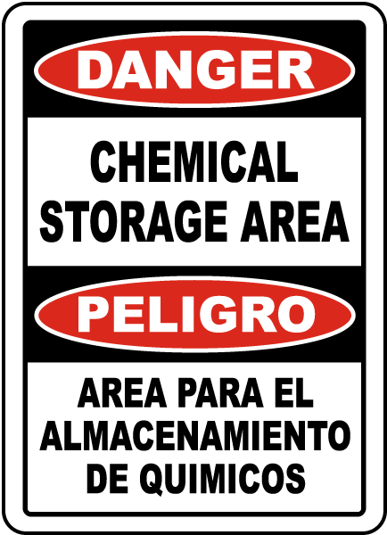 Bilingual Chemical Storage Area Sign