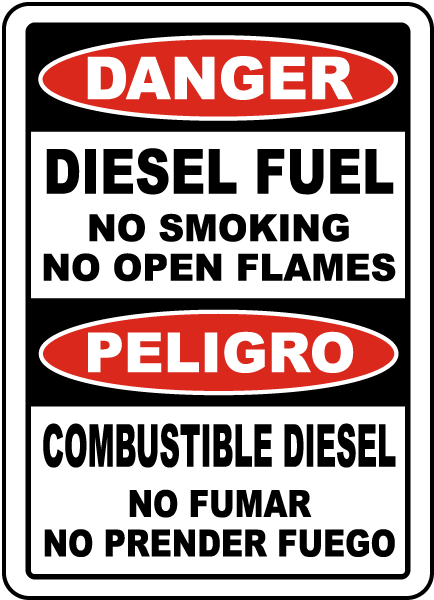 Bilingual Diesel Fuel No Smoking No Open Flames Sign