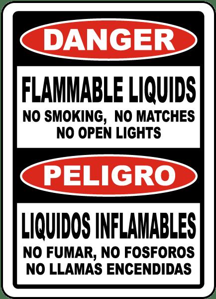 Bilingual Flammable Liquids No Smoking No Open Lights Sign