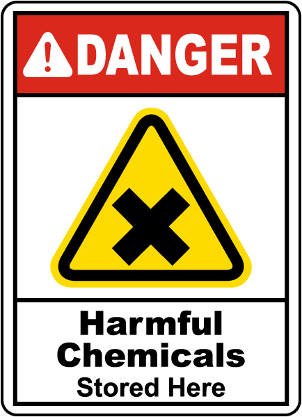 Danger Harmful Chemicals Stored Here