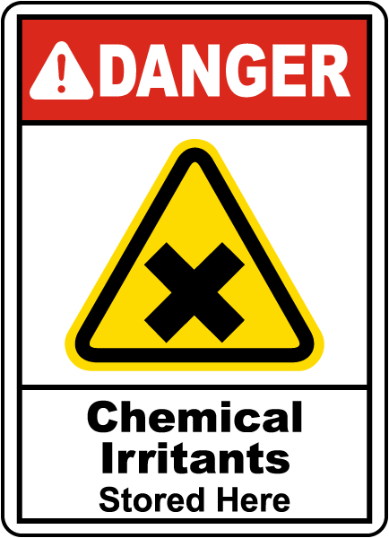 Chemical Irritants Stored Here Sign