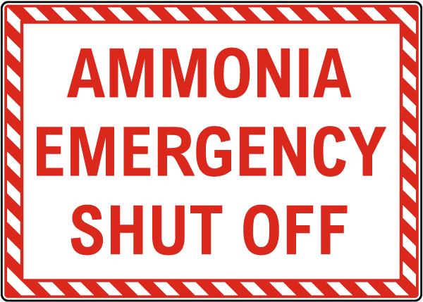 Ammonia Emergency Shut Off Sign