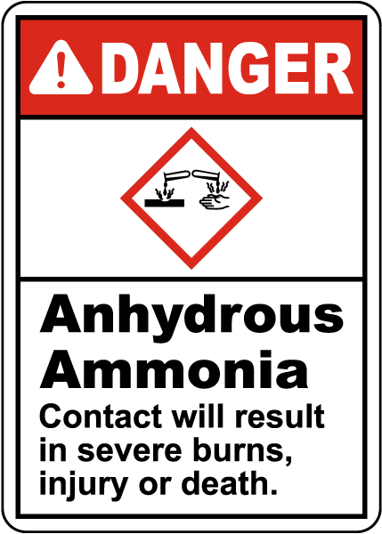 Danger Anhydrous Ammonia GHS Sign