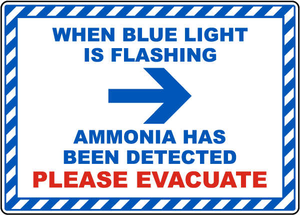 When Blue Light Is Flashing Ammonia Detected Right Arrow Sign