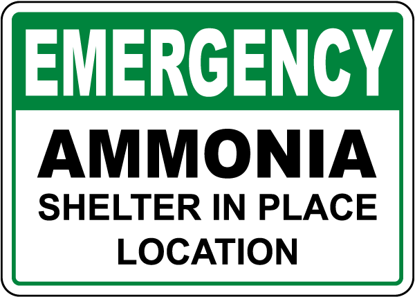 Emergency Ammonia Shelter In Place Sign