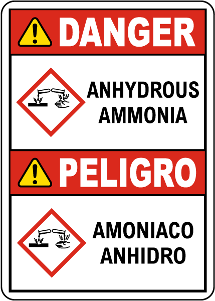 Bilingual Danger Anhydrous Ammonia GHS Sign