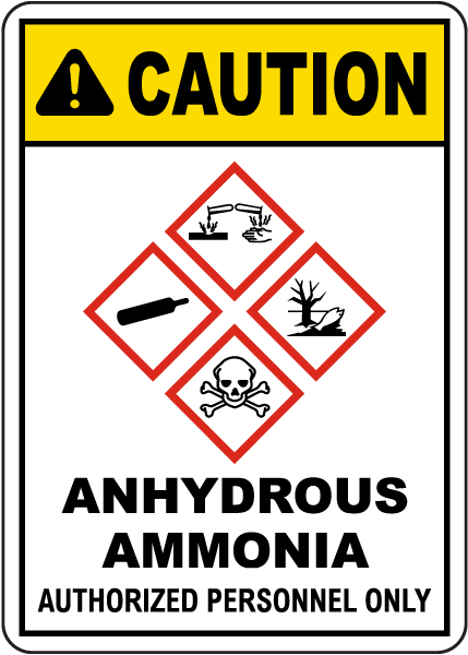 Caution Anhydrous Ammonia Authorized Personnel Only GHS Sign
