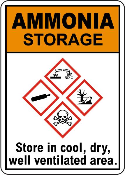 Ammonia Storage GHS Sign