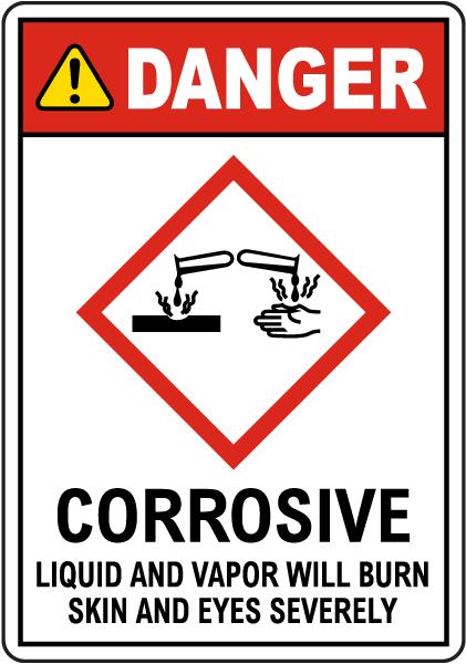 Danger Corrosive Liquid And Vapor Will Burn GHS Sign