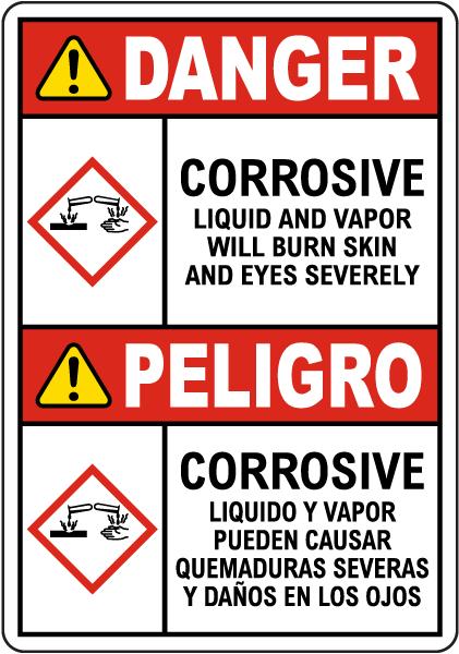 Bilingual Danger Corrosive Liquid And Vapor Will Burn GHS Sign