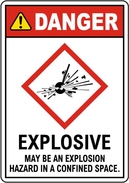 Danger Explosive GHS Sign