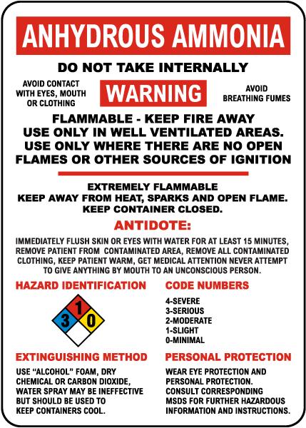 Anhydrous Ammonia Hazardous Warning Sign