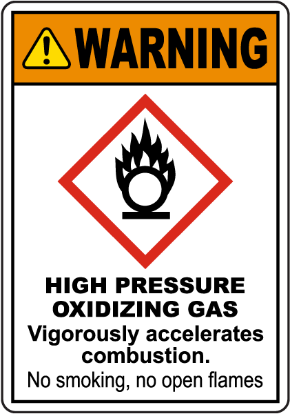 Warning High Pressure Oxidizing Gas GHS Sign