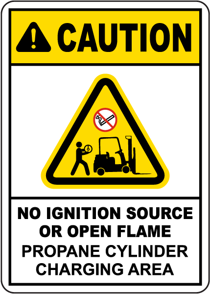 Caution Propane Cylinder Charging Area Sign