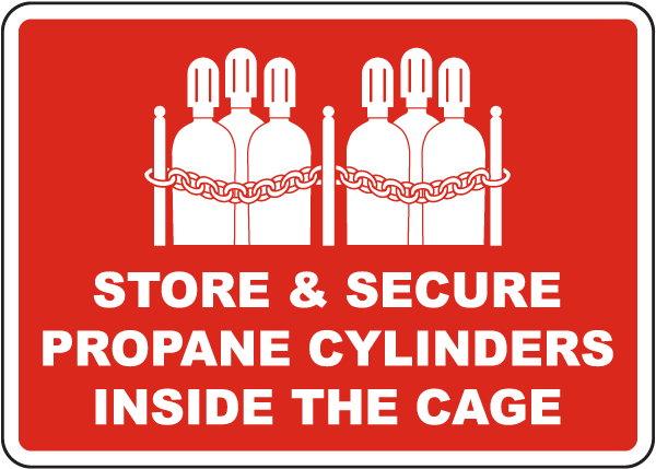 Propane Cylinders Store Inside Cage Sign