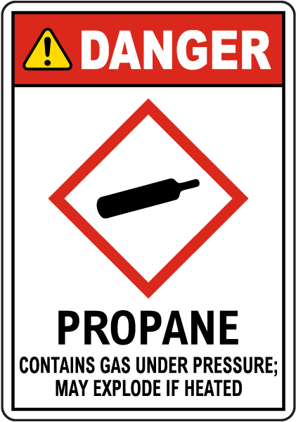 Danger Propane Contains Gas Under Pressure GHS Sign