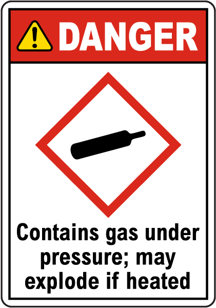 Danger Contains Gas Under Pressure GHS Sign