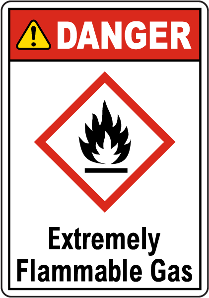 Danger Extremely Flammable Gas GHS Sign