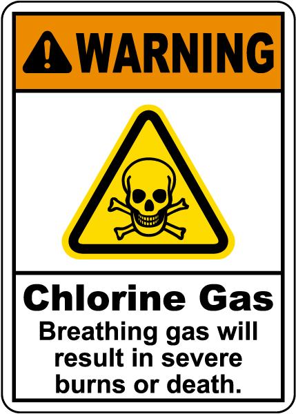 Warning Chlorine Gas Sign