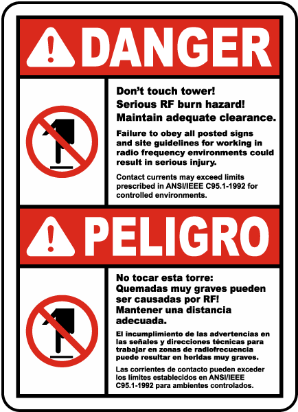 Bilingual Don't Touch Tower Serious RF Burn Hazard Sign