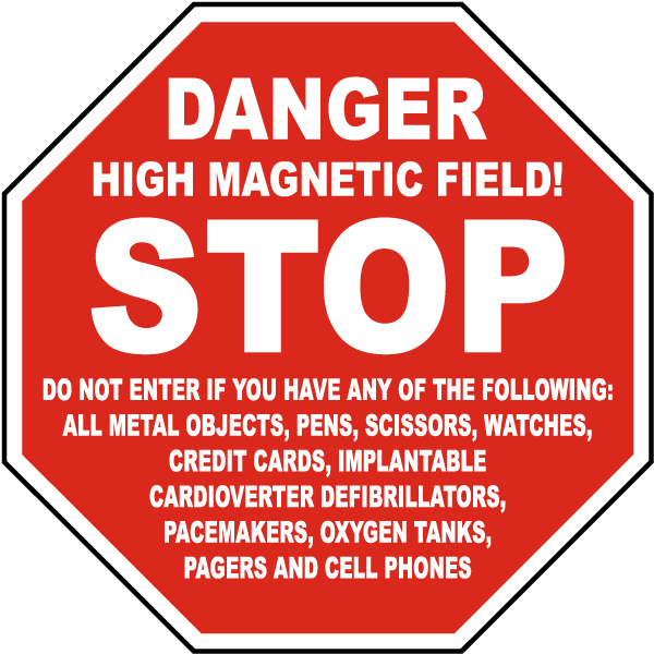 Stop Danger High Magnetic Field Sign