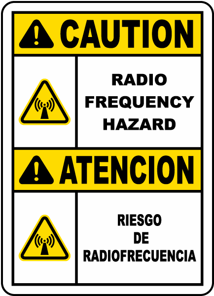 Bilingual Caution Radio Frequency Hazard Label