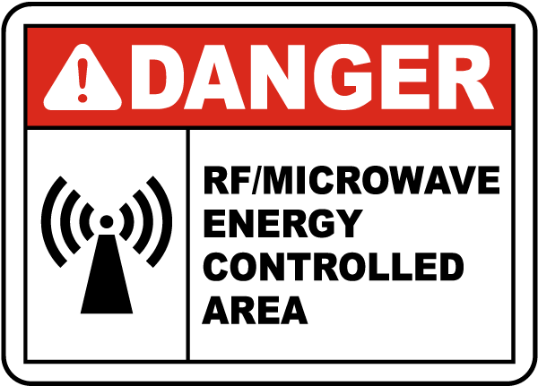 Danger RF/Microwave Energy Controlled Area Sign
